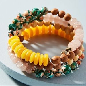 Anthropologie Beaded Coil Bracelet Set